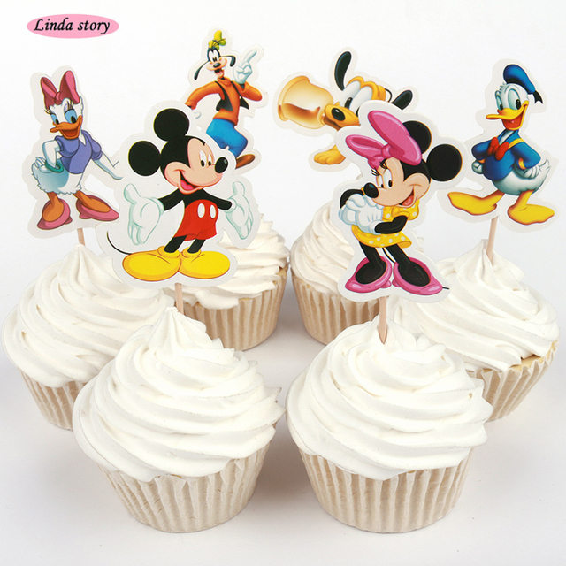 2017 New 24pcs Cartoon Mouse Cup Cake Topper Baby Shower birthday ...
