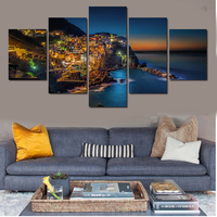5 Piece Wall Art The Most Beautiful City Night View Modern Picture Set Home Decor On
