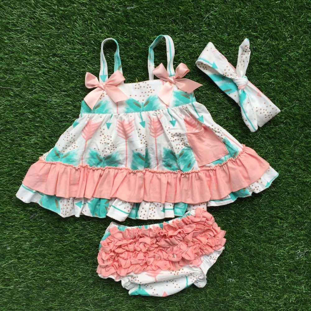 0-2t baby girls new kids clothes suit feather swing tops swing outfits kids swing clothing with matching headband
