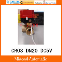 CWX 60P brass motorized ball valve 3/4 DN20 micro electric valve DC5V electrical controlling (three way) valve wires CR 03
