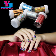 6Pcs/Lot Mix Color Nail Art Transfer Foil Stickers Tip Decoration Gel Polish Care DIY Star Design Nail Foils Decals 4X120cm New(China)