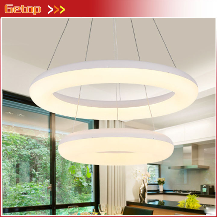 ZX Hanging Wire Acryl LED Round Pendant Lamp DIY Individual 2 Rings LED Chip Pendant Light Fixture Dining Room Foyer Office Lamp zx modern aluminum led chip pendant lamp engineering hanging wire strip light fixture for office conference room study lamp