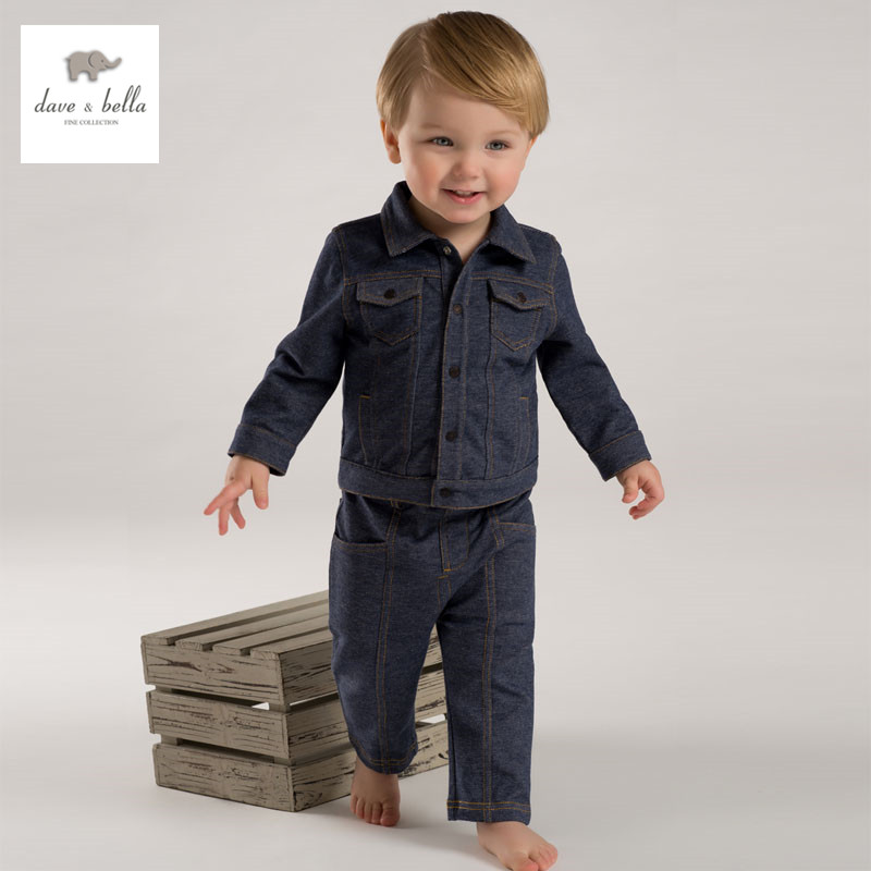 купить DB3781 dave bella spring baby boys denim cool clothing set infant sets toddle clothes kids jenas children jeans clothing sets недорого