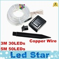 Con energía Solar de la cuerda 50 LEDs luz de la secuencia del Ourdoor de hadas del jardín lámpara de la fiesta luz de la navidad impermeable IP68 3 M 30 LEDs