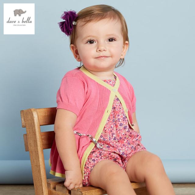 DB3193 dave bella verano niña ropa infantil niña prendas de punto knit cardigan suéteres niño suave de alta calidad