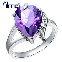 Almei 15%Off Zircon Ring Women Wedding Jewelry Silver Color Pear Rings Love Heart Rhinestone Purple Bule Crystal Anillos J092