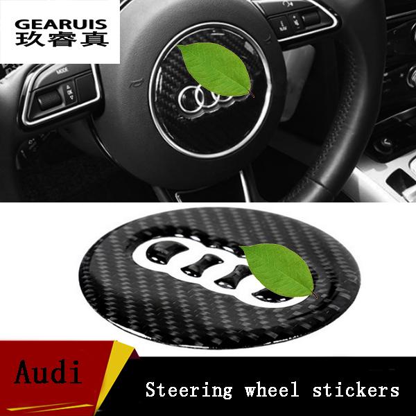 2016 Novo Design De Fibra De Carbono Decoração Volante Do Carro Cobre Interior suprimentos Para Audi A4 B8/A1/A3/A4L/A6 Car Styling