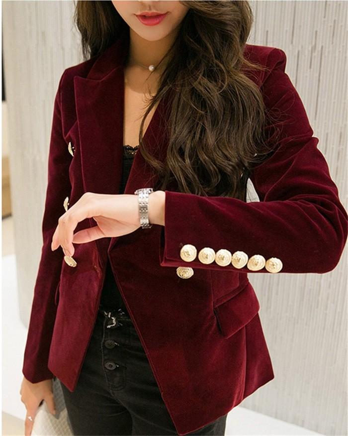 2016 New Spring Fashion Women Midnight Navy Slim Velvet Blazer Jacket Double Breasted simple Lady Blazers (24)