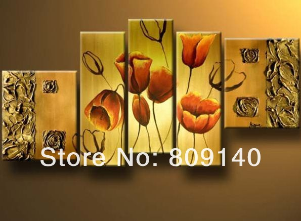 free shipping flower oil painting Thick Texture Modern Abstract ...