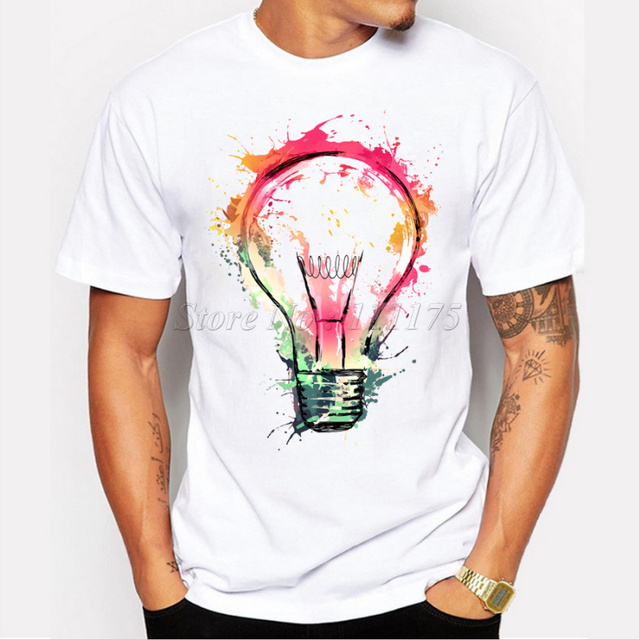 New Color Painted Bulb Design Men 39 S T Shirt Cool Fashion