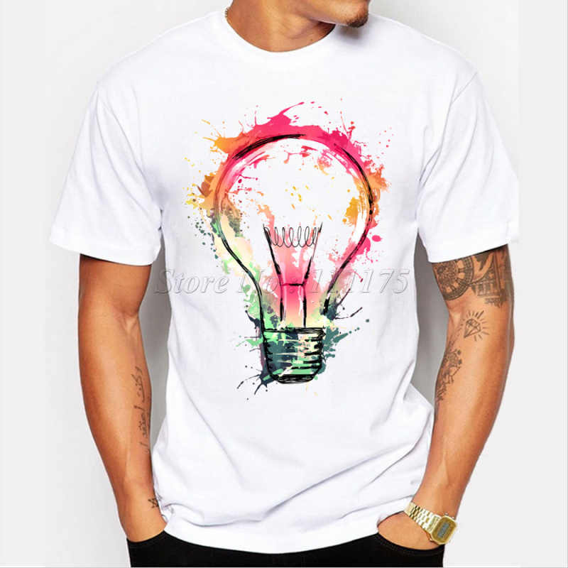 d4325d9f4 New Color Painted Bulb Design Men's T shirt Cool Fashion Tops Short Sleeve  Tees