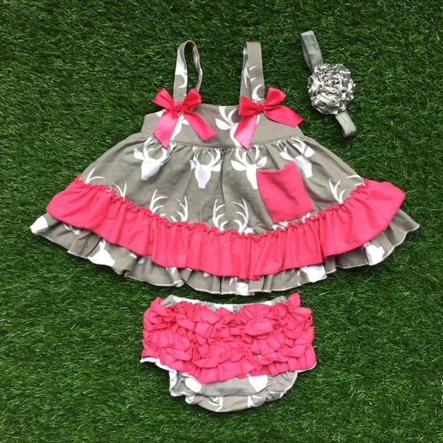 Infantil del bebé girls boutique ropa establece las muchachas del niño del reno oscilación más populares trajes wiht bloomer de la colmena con diadema
