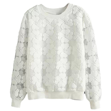 High Quality Casual Round Neck Hedging Sweatshirt Women Lace Hollow Out Female Hoodies Loose All-Match Bottoming Sudaderas S~XL