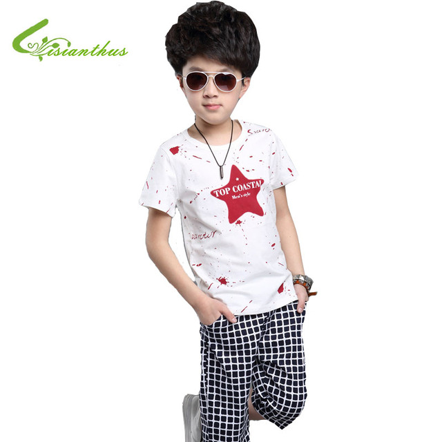 2016 Boy's Summer Clothing Set Short Sleeve Star T-Shirt + Plaid Pants Kids Cotton Casual Clothing Set Free Drop Shipping
