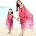 2017 летом пляж платье макси девушки шифоновое платье соответствия мать дочь одежда платья семья посмотрите девушка и мать платье