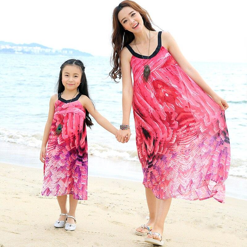 2019 été plage robe maxi filles en mousseline de soie robe correspondant mère fille vêtements robes famille look fille et mère robe