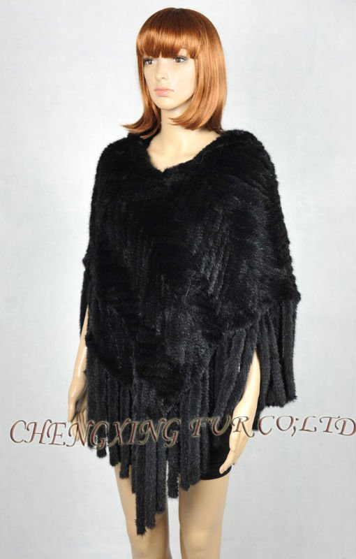 CX-B-M-98C натуральный мех норки пончо ручной вязки накидка шаль с капюшоном коричневый черный