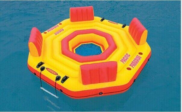 Intex piscine 4 personnes flotteur d'eau gonflable pour fête de famille eau île sports nautiques taille 254*254*6 cm - 3