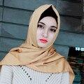 Comercio al por mayor 32 colores de la mujer de satén de seda bufanda musulmán hijab islámico chales pañuelo bandana headwear disinger abaya 20 unids/lote