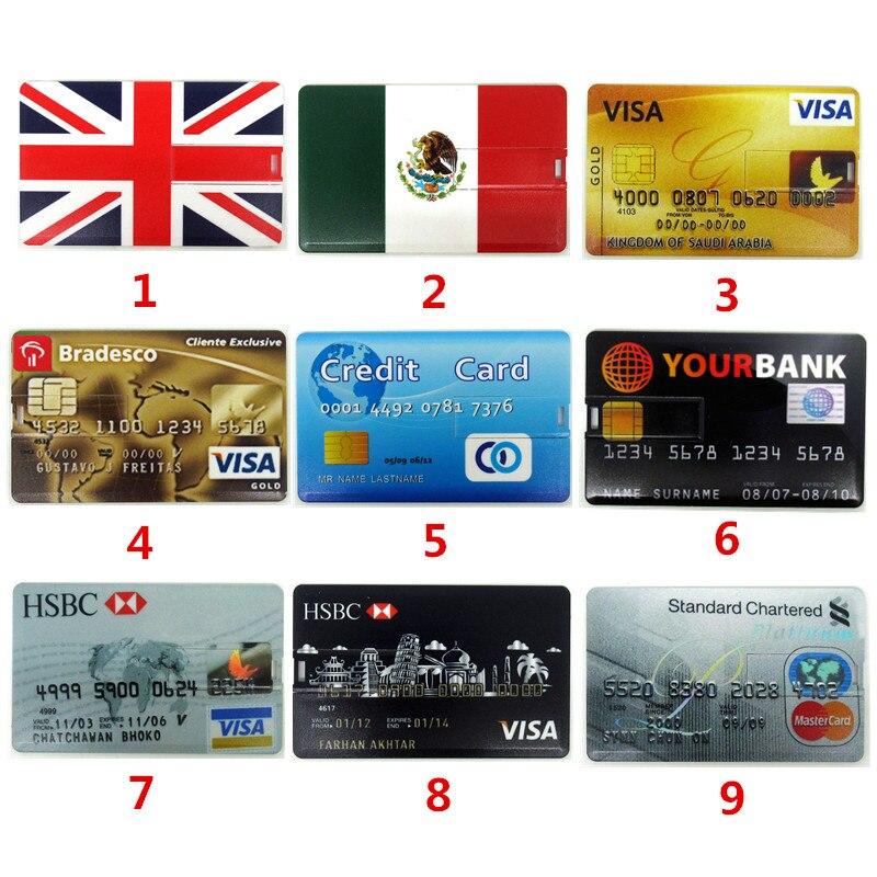 New All Kinds Of Bank Credit Card USB Flash Drive Pen Drive 4GB 8GB 16GB 32GB Memory Stick Pendrive Waterproof U Disk Customized