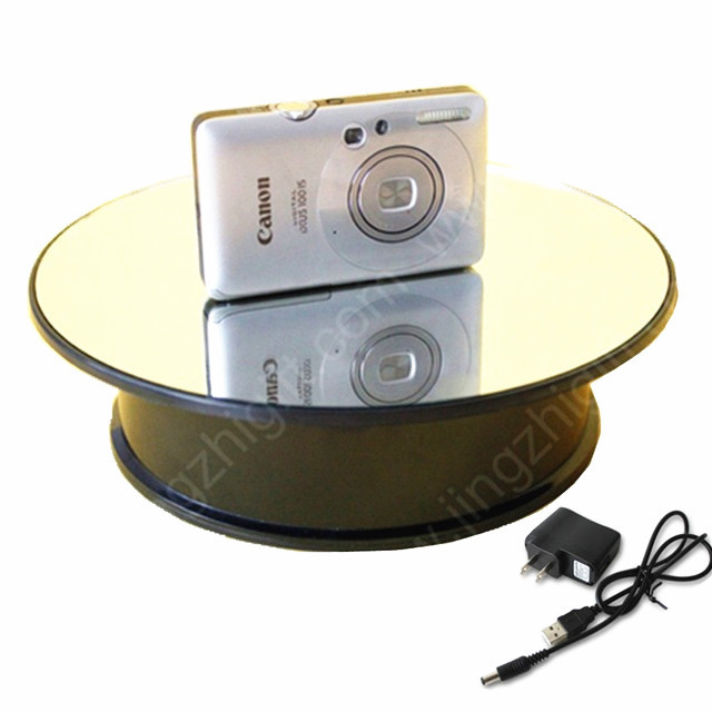 200mm Mirror Glass Electric Turning Top Display Stand Rotary Display Turntable for jewelry &mobile phone display