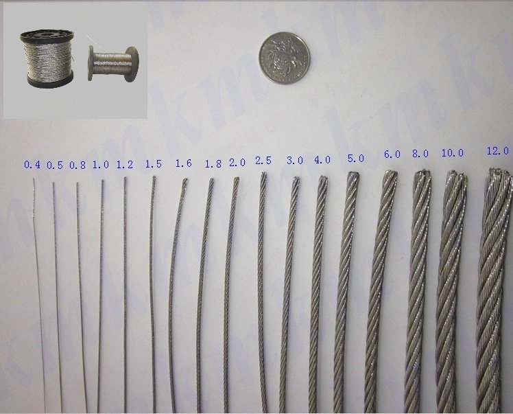 100M/Roll AISI 304 Stainless Steel Wire Rope 7X7 Structure 0.5 MM ...