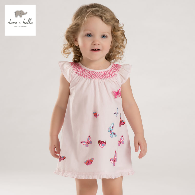 DB3340 dave bella summer baby girl butterfly printed appliques dress baby cute birthday dress kids lolita clothes dress db5708 dave bella baby girl lolita dress stylish printed dress toddler children dress