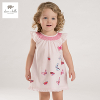 DB3340 Dave Bella Summer Baby Girl Butterfly Printed Appliques Dress Baby Cute Birthday Dress Kids Lolita