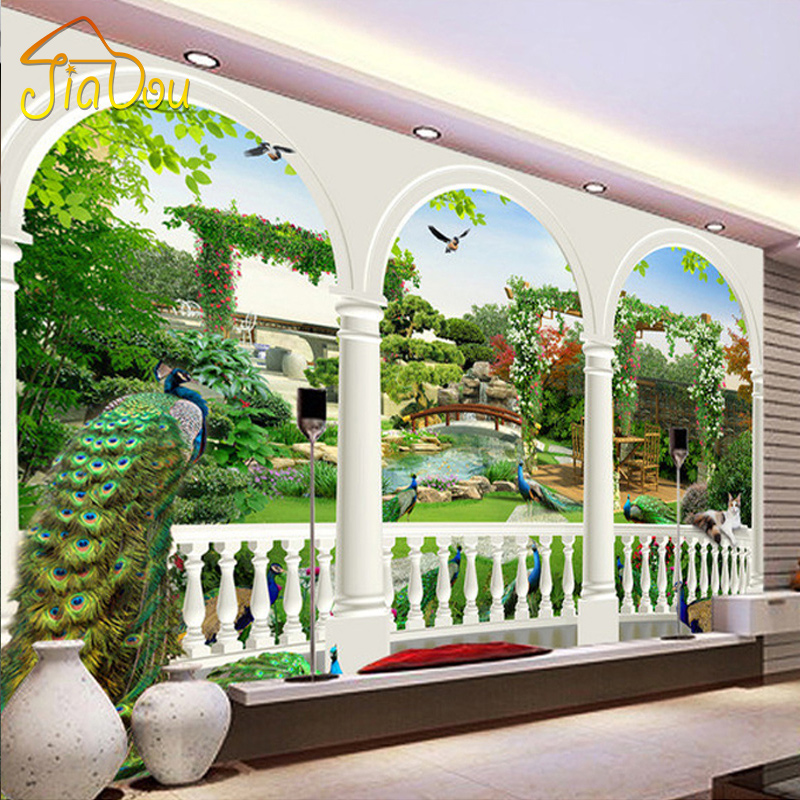 Custom Photo Wallpaper Large HD 3D Stereoscopic Dream Bird Peacock Palace Gardens Mural TV Living Room Sofa Background Wallpaper custom photo wallpaper large 3d sofa tv background wallpaper mural wall peacock art 3d mural wallpaper 20159964