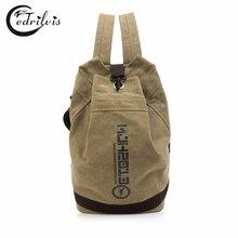 Fashion Unisex Canvas Backpack W307 Leisure Travel Double Shoulder Bag Men or Women Drawstring School Bag Unisex Canvas Bags