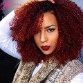 Rojo Color de La Virgen Brasileña Llena Del Cordón Pelucas Rizadas rizadas Humanos Glueless del pelo Afro Rizada rizada Peluca Del Frente Del Cordón Para El Negro mujeres