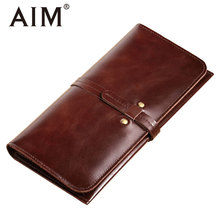 AIM Vintage Genuine Leather Mens Long Wallet Oil Wax Big Capacity Male Card Case Men Slim Leather Bifold Wallets Hasp Coin Purse