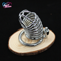Metal Hoop Cock Cage with Lock & Key Male Chastity Device Scrotum Bondage Restraint Adult Sex Toys for Men DW-362