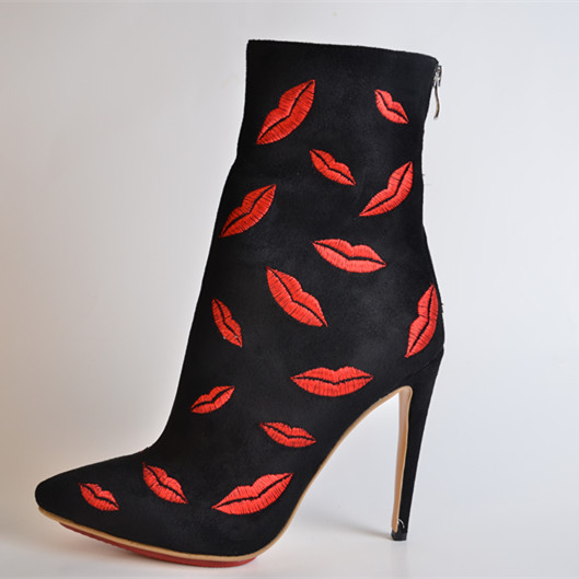 Embroidered  Red  Mouth Suede Leather  Women's Stiletto Heel Ankle-High Boots sapatos femininos 2015 Autumn Thin High Heels
