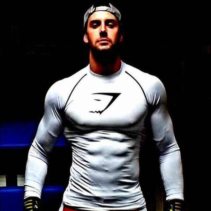 Gymshark Men s T shirt Stringer Muscle Men Compression Tops Homme Bodybuilding Fitness Singlets Long Sleeve