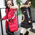 Девушки зима теплая пальто хлопка детей куртка толстый хлопок-проложенный с капюшоном зимние куртки для девочек детей длинный outerwears