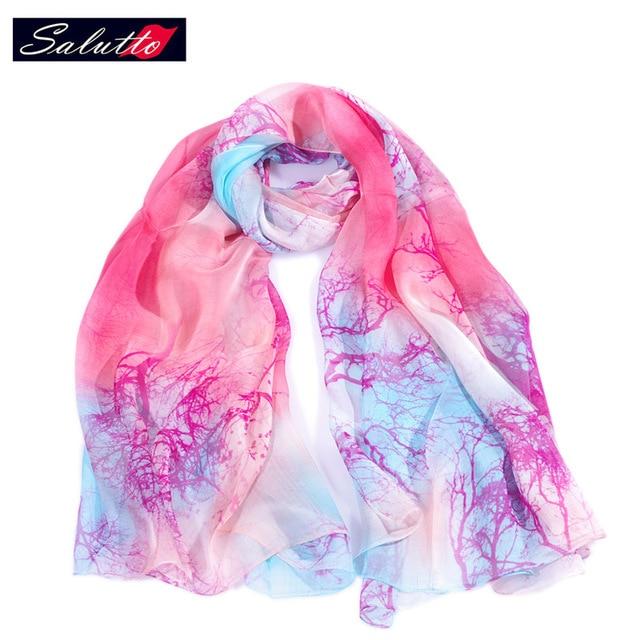 SALUTTO 2016 The New Brand Fashion 100% Silk Beauty Foulard Scarves High Quality  Shawl Brand Pashmina Women Bandanas