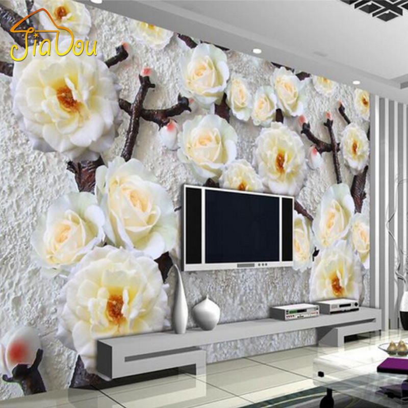 Custom Any Size 3D Stereoscopic Relief Flower Non-woven Wallpaper Modern Living Room Bedroom Background Mural Photo Wallpaper american country leaf branch flower pastoral non woven wallpaper bedroom living room 3d stereoscopic background wallpaper mural