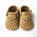 Pontos do ouro camurça de couro sapatos de bebê, por atacado sapatos de bebê mocassins