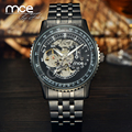 MCE brand New Dress fashion skeleton clock style black stainless steel band automatic mechnical mens watch 348