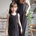 2016 nova família roupas combinando vestidos filha da mãe mommy and me olhar família menina e vestido mãe roupas 2 cores