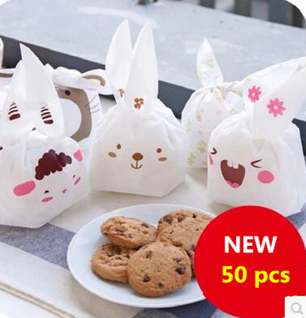 50pcs/lot Cookie Packaging Lovely Sheep Cute Bear Animal Series Plastic Handle Bags for Biscuits Snack Baking Package