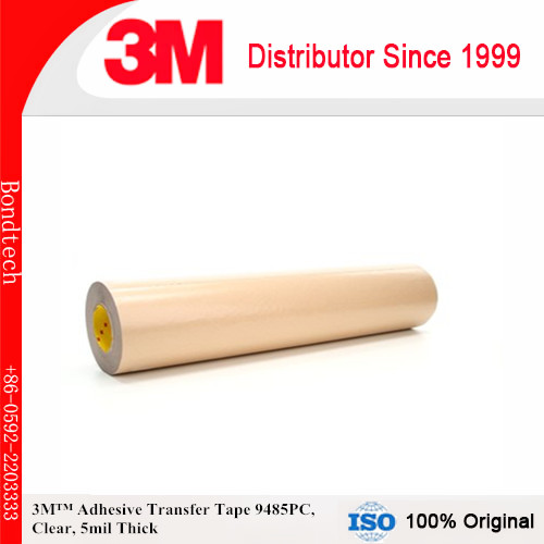 3M Adhesive Transfer Tape 9485PC Clear, 5 mil, 6 in x 60 yd 5 mil (Pack of 1) 3m positionable mounting adhesive 24 in x 50 ft clear 56824 dmi rl