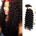 100% человеческих волос девственницы глубокая волна бразильский переплетения глубоко вьющиеся волосы 3 пучки Cheveux Tissage Bresilienne