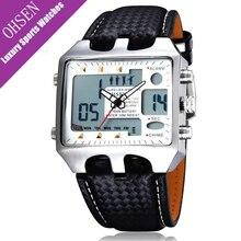 Ohsen Dual Time Rectangle Watch Men Waterproof Leather Hand Digital Quartz Men's Clock Brand Fashion Casual Business Watches