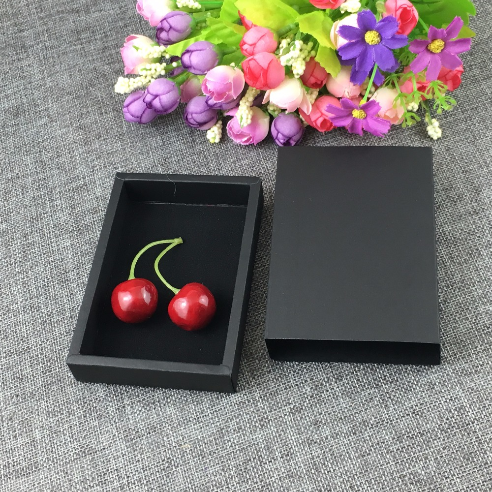 50PCS/Lot Kraft Paper Gift Drawer Box With black velvet Adhesive Sticker Jewelry Displays Package Carry Case Accept Custom Logo