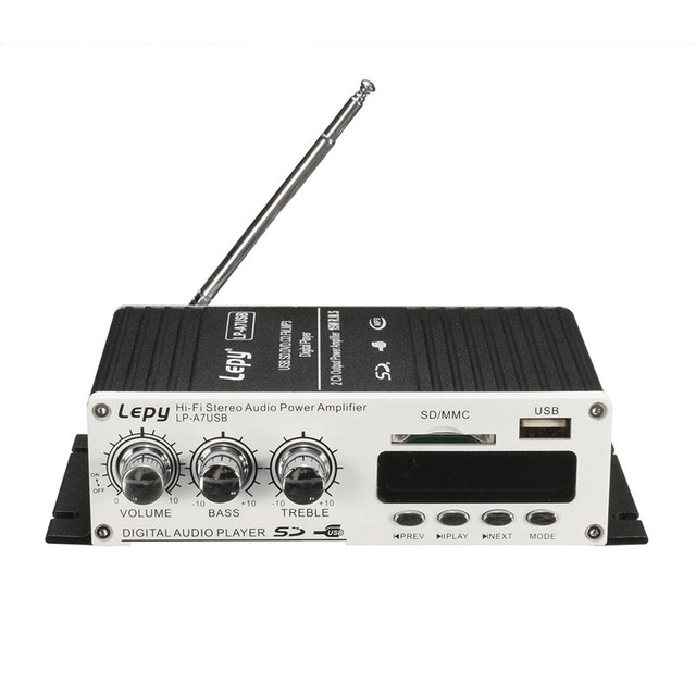 LP-A7 USB Mini Super Bass Stereo Car Amplifier audio Amplifier USB DVD CD with FM MP3 Super Bass Stereo Remote Controller