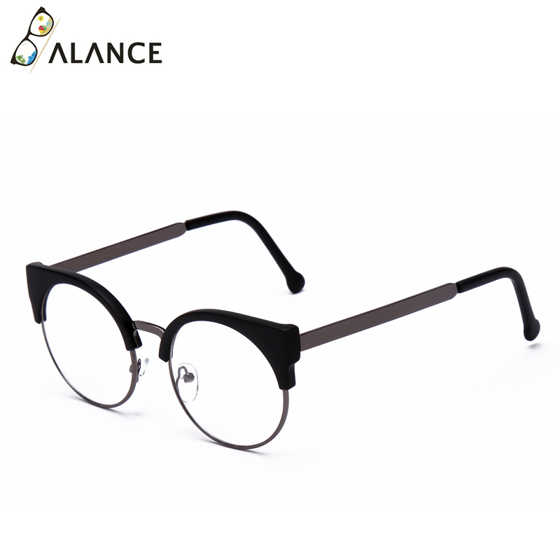 Женские простые очки кошачий глаз, полуоправа, прозрачные линзы, круглые очки, сексуальные винтажные очки кошачий глаз, оправа, брендовые дизайнерские очки - Цвет оправы: Matte black