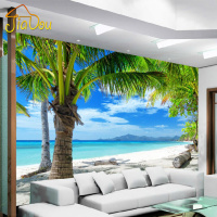 Custom 3D Mural Mediterranean Modern Minimalist Sea Beach Coconut Wall Painting Sofa Living Room TV Background