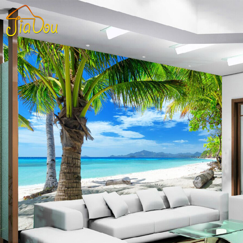 Custom 3d mural mediterranean modern minimalist sea beach for 3d wall designs bedroom